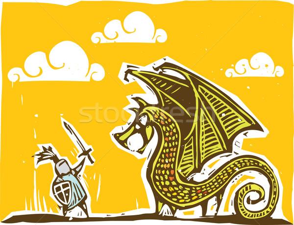 Knight and Dragon Stock photo © xochicalco