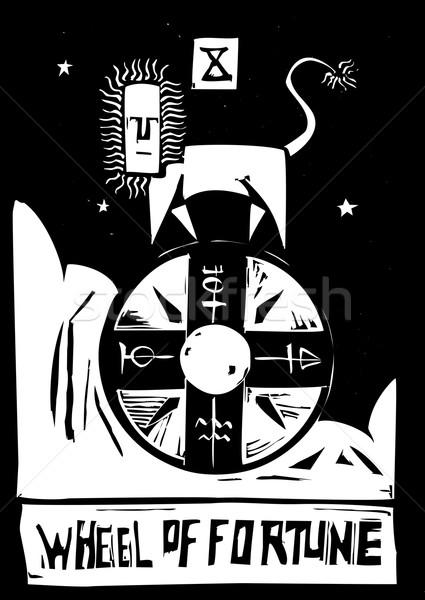 Tarot karty koła obraz lew przyszłości Zdjęcia stock © xochicalco