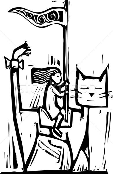 猫 少女 ライディング 戻る 巨人 馬 ストックフォト © xochicalco