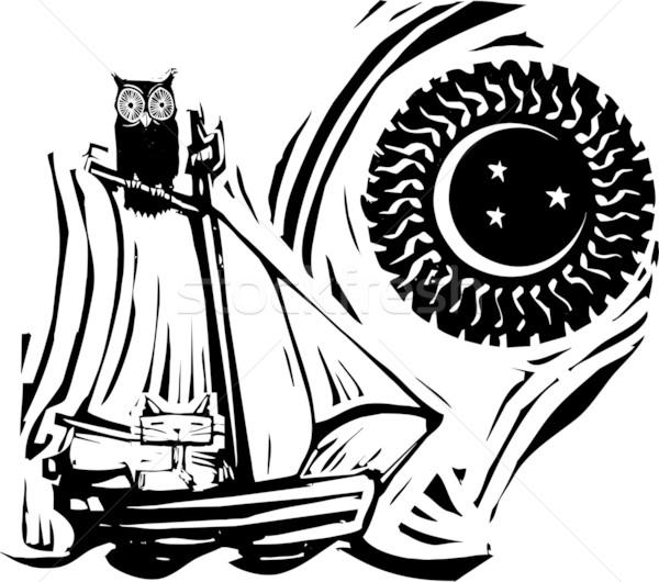 Sowa kot łodzi księżyc gwiazdki ocean Zdjęcia stock © xochicalco