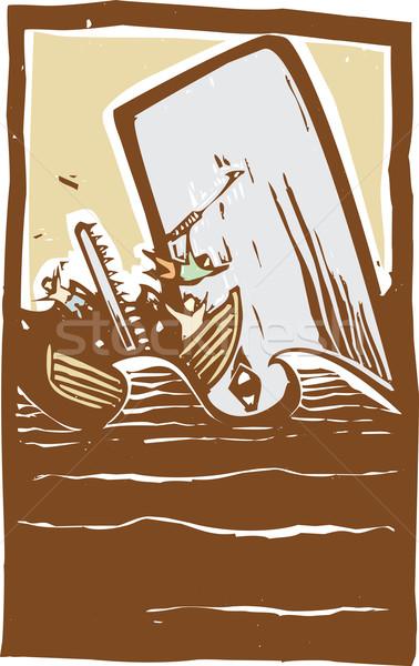Moeite kleur expressionistische stijl afbeelding walvis Stockfoto © xochicalco