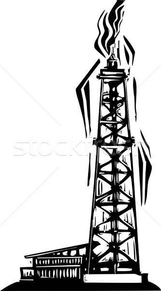 Puits de pétrole style image pétrolières forage bien Photo stock © xochicalco