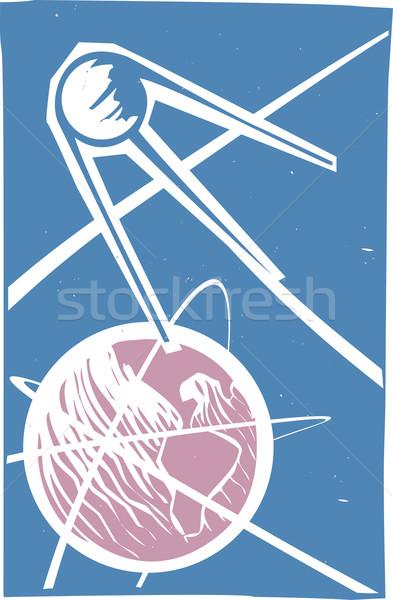 Sputnik over Earth Color Stock photo © xochicalco