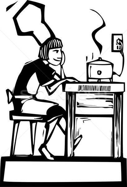 Szakács lassú nő ül néz eszik Stock fotó © xochicalco