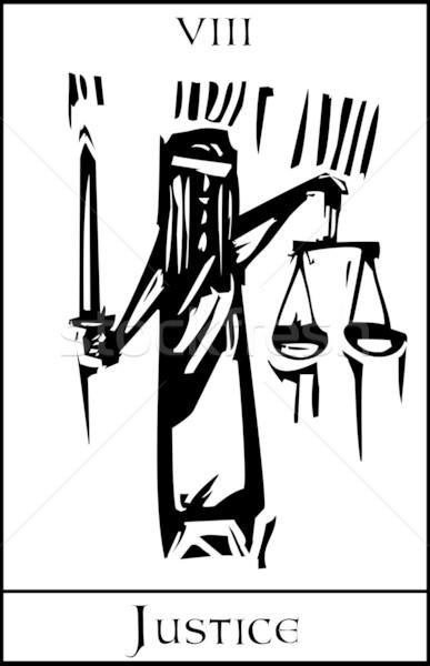 Tarot karty sprawiedliwości ekspresjonista stylu obraz Zdjęcia stock © xochicalco