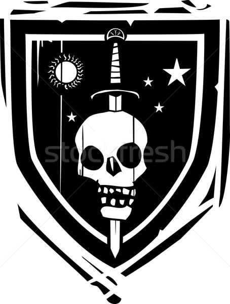 Schild zwaard schedel stijl achtergrond frame Stockfoto © xochicalco