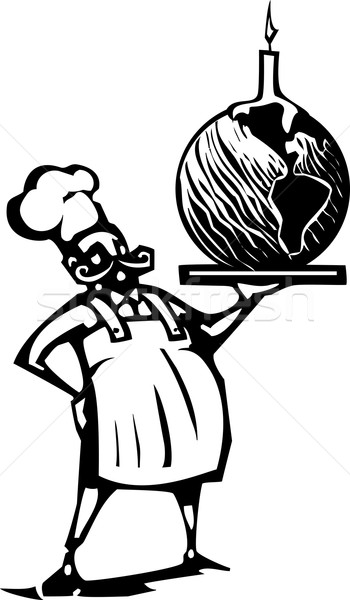 Chef with Birthday earth and candle Stock photo © xochicalco