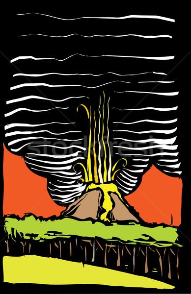 Vulkán kép erdő felhő Stock fotó © xochicalco