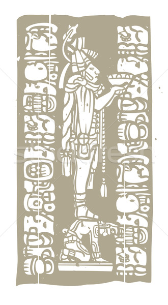 Stock photo: Mayan Bowl Woodblock A