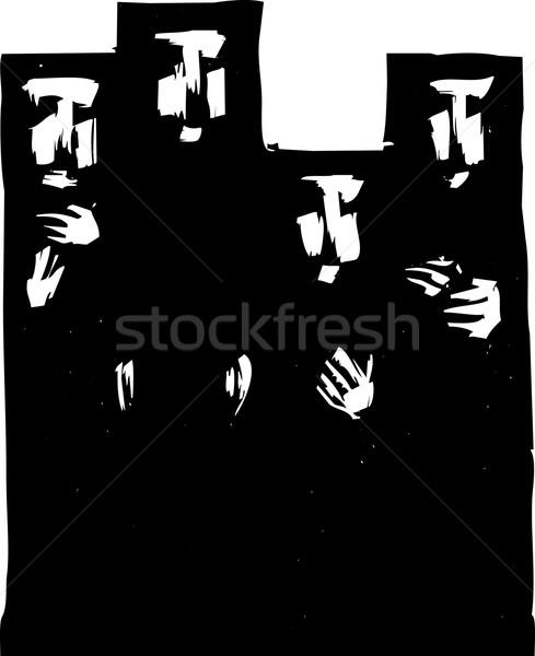 Nők négy fekete muszlim divat vallás Stock fotó © xochicalco
