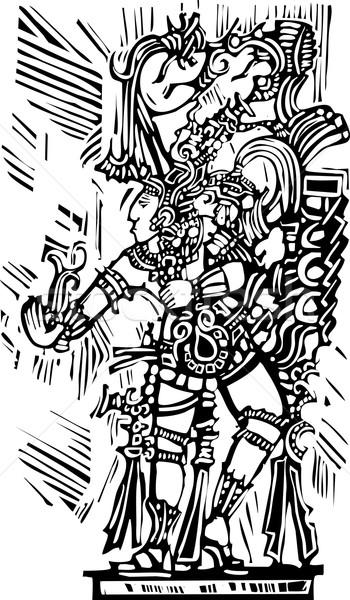 Mayan Woodcut Style 4 Stock photo © xochicalco