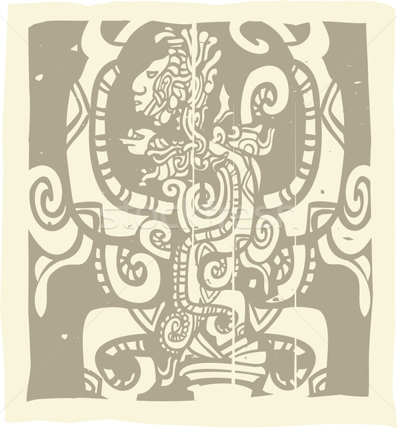 Stock photo: Mayan Woodblock Vision Serpent