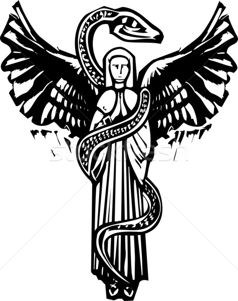 Winged Angel and Serpent Stock photo © xochicalco