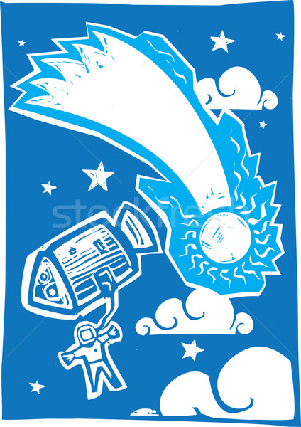 Astronaut and Comet Stock photo © xochicalco