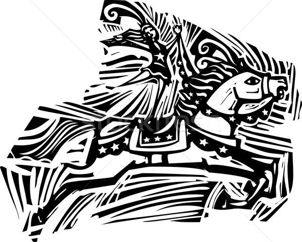 Circus paard stijl expressionistische afbeelding Stockfoto © xochicalco
