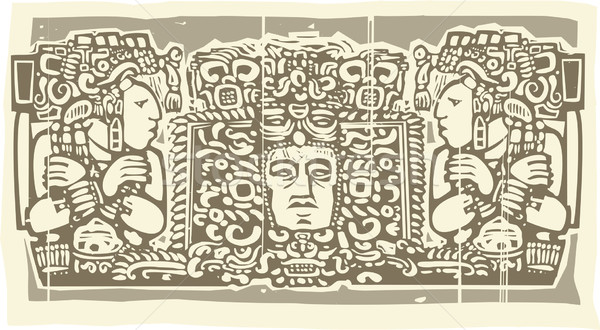 Maya Triptych Woodblock B Stock photo © xochicalco