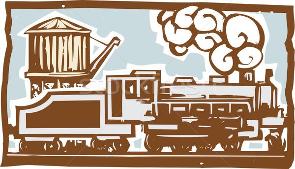 Foto stock: Locomotiva · água · torre · estilo · imagem · trem