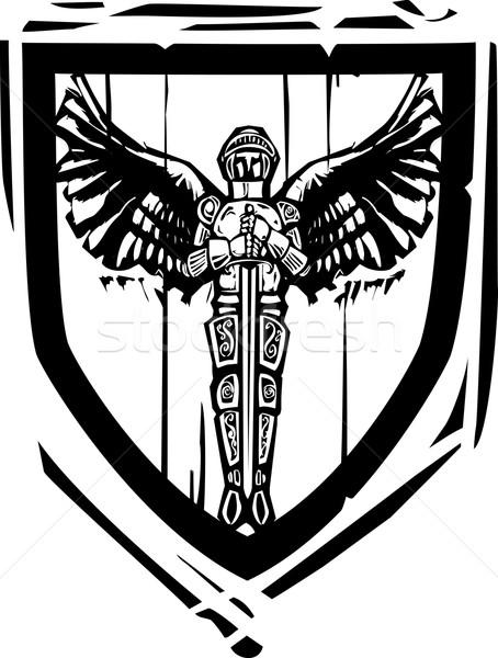 Heraldic Shield Winged Knight Stock photo © xochicalco
