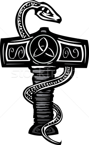 Mjolnir and Serpent Stock photo © xochicalco