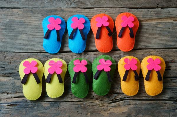 Leven kleurrijk mooie sandalen handgemaakt bericht Stockfoto © xuanhuongho