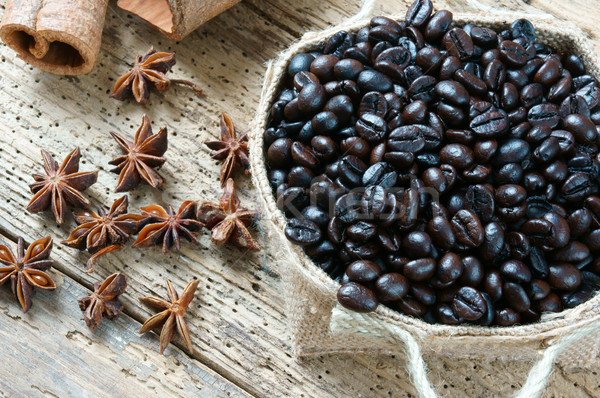 Koffie koffiekopje koffieboon houten mooie verbazingwekkend Stockfoto © xuanhuongho