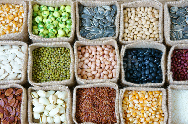 Collectie graan granen zaad boon landbouw Stockfoto © xuanhuongho