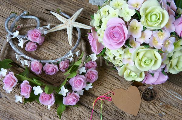 глина цветок свадьба ручной работы невеста стороны Сток-фото © xuanhuongho