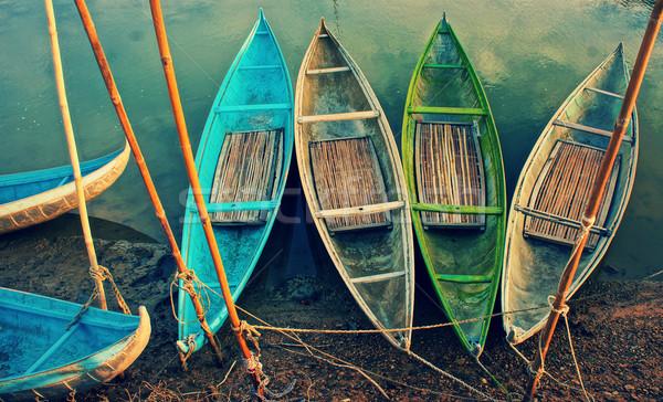 Groep kleurrijk roeien boot abstract curve Stockfoto © xuanhuongho