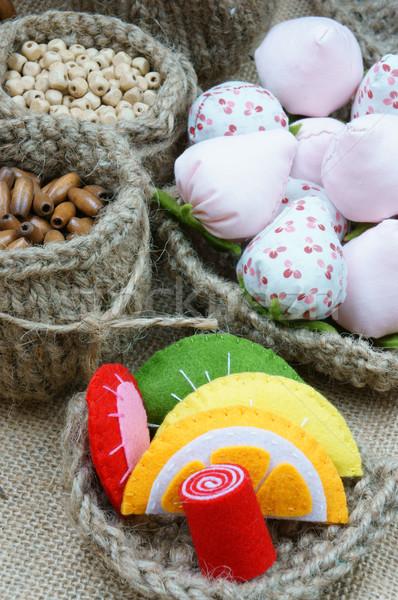 Handmade, vintage, hand made fruit, strawberry, art Stock photo © xuanhuongho