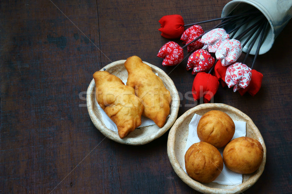 Vietnam street food groep knoedel cake Stockfoto © xuanhuongho