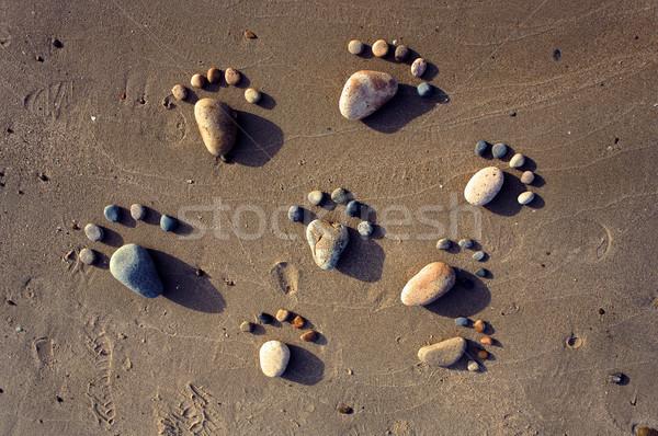 Foto stock: Pé · areia · arte · praia · grupo