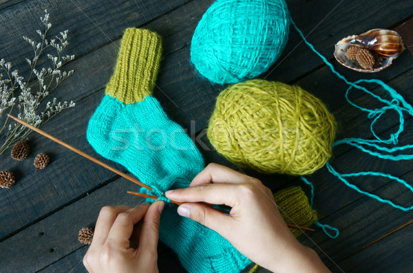 socks, stockings, winter, knit, handmade Stock photo © xuanhuongho