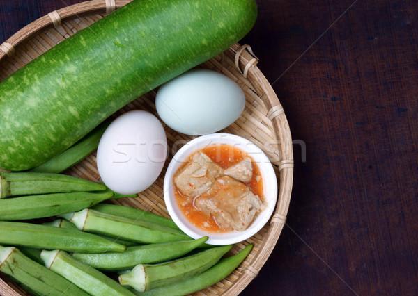 Comida vegetariano dieta menu refeição garrafa Foto stock © xuanhuongho