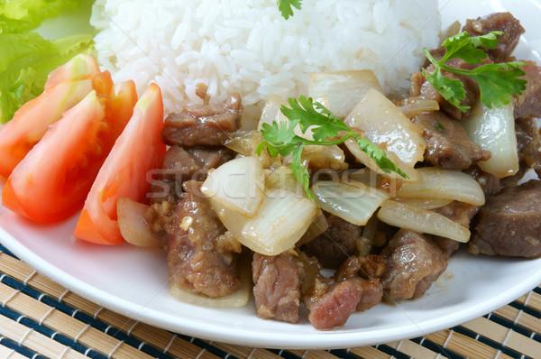 Vietnamese food, bo luc lac, beef Stock photo © xuanhuongho