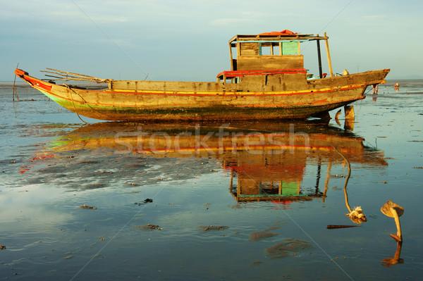 ハーモニー 木製 漁船 風景 カラフル 表示 ストックフォト © xuanhuongho