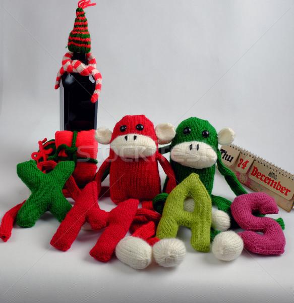Navidad mono botella de vino navidad funny dos Foto stock © xuanhuongho