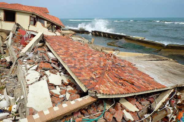 Erosion, climate change, broken building, Hoi An, Vietnam Stock photo © xuanhuongho