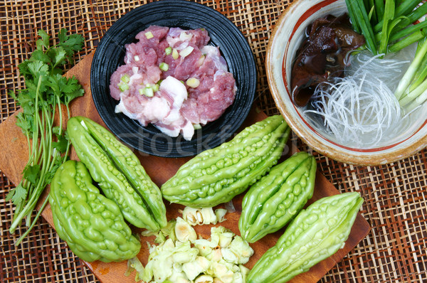 Vietnamese food, bitter melon, ground meat Stock photo © xuanhuongho