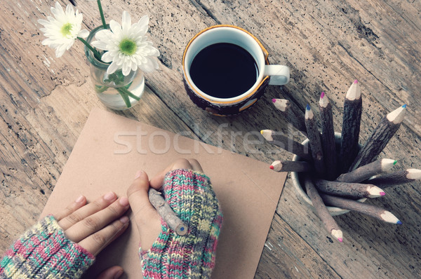 Women hand, wintertime, writting letter Stock photo © xuanhuongho