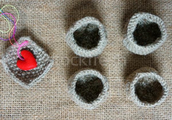 Handmade, knit, knitting, art hobby, lovely creatve Stock photo © xuanhuongho