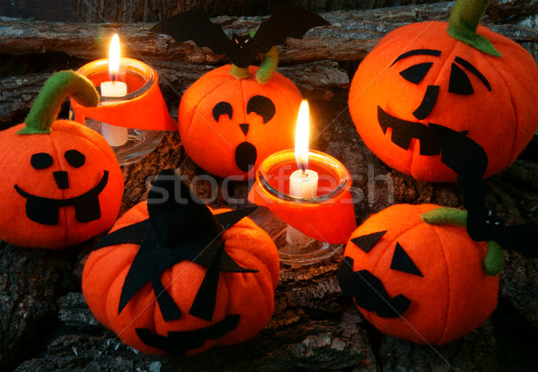 Halloween feito à mão abóbora surpreendente vermelho cor Foto stock © xuanhuongho