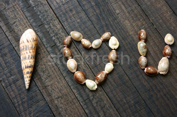I love you, shell, heart shape, valentine day Stock photo © xuanhuongho
