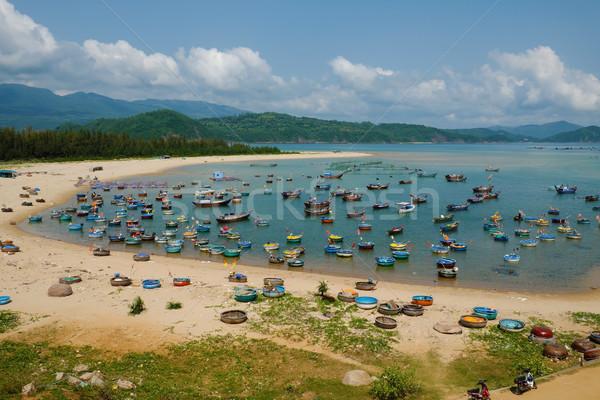 Vissen dorp yen Vietnam zeegezicht verbazingwekkend Stockfoto © xuanhuongho