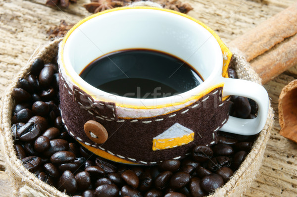 Coffee background, coffee cup, coffee bean Stock photo © xuanhuongho