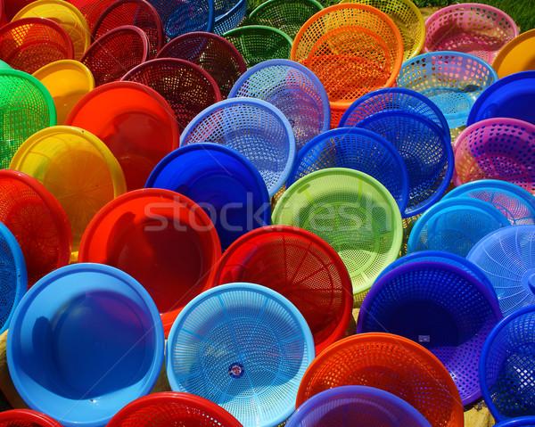 Colorido plástico cesta mostrar abierto aire Foto stock © xuanhuongho