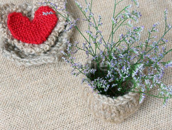 Handgemaakt bloempot hart vintage stijl Stockfoto © xuanhuongho