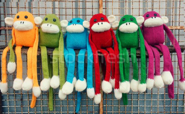 Handgemaakt aap gelukkig nieuwjaar 2016 grappig dier Stockfoto © xuanhuongho
