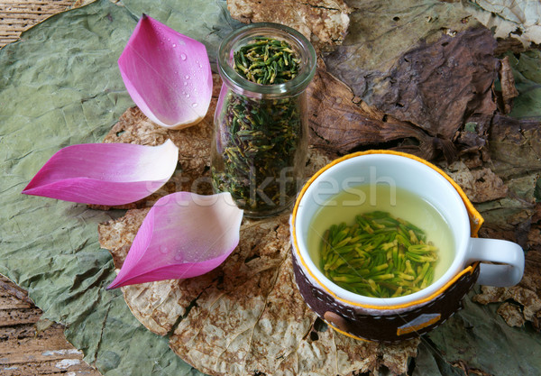 Collection lotus flower, seed, tea, healthy food Stock photo © xuanhuongho