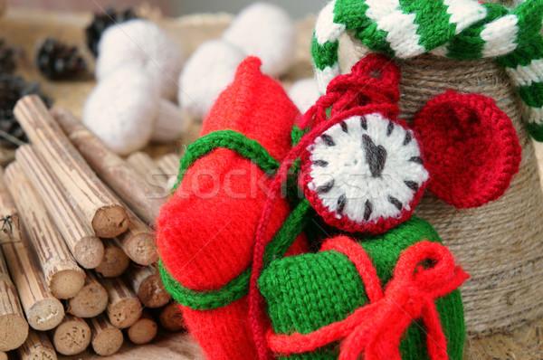 Christmas wykonany ręcznie zegar dar czasu Zdjęcia stock © xuanhuongho