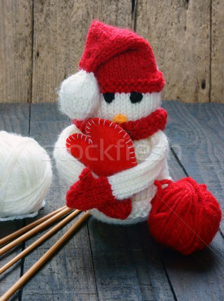 Navidad ornamento hecho a mano Navidad muñeco de nieve de punto Foto stock © xuanhuongho